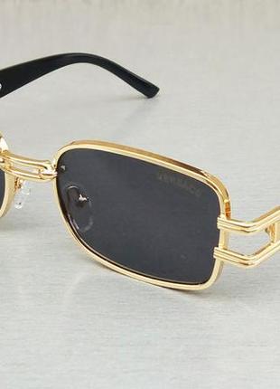 Versace очки унисекс солнцезащитные модные узкие черные в золоте