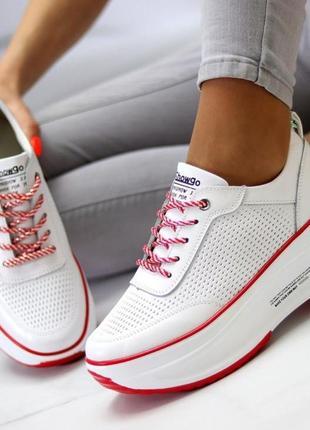 Кроссовки из натуральной белой кожи на платформе