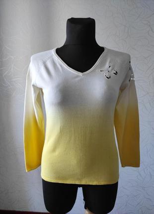 Тоненький желтый свитер, коттоновый тонкий свитер
