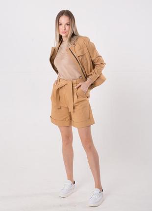 Костюм женский коттоновый бежевый (куртка+шорты)