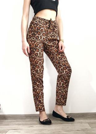 Летние штаны на высокой посадке в леопардовый принт 1+1=3