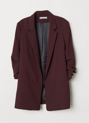 Пиджак h&m (hm, zara) вишневый с приборными рукавами xs