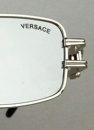 Versace модные узкие солнцезащитные очки зеркальные серый металлик9 фото