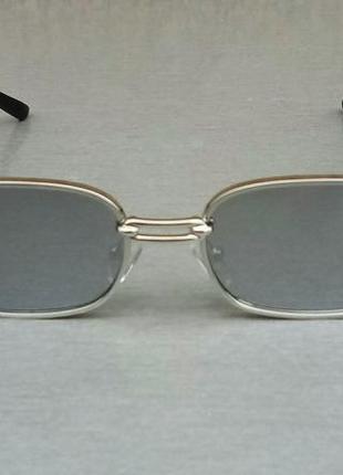 Versace модные узкие солнцезащитные очки зеркальные серый металлик