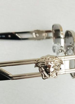 Versace модные узкие солнцезащитные очки зеркальные серый металлик8 фото
