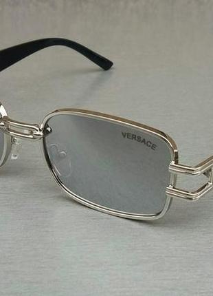 Versace модные узкие солнцезащитные очки зеркальные серый металлик2 фото