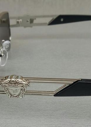 Versace модные узкие солнцезащитные очки зеркальные серый металлик4 фото