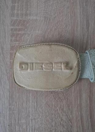Diesel оригинальный кожаный белый ремень - 106см