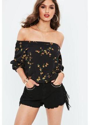Missguided топ блуза с открытыми плечами короткий чёрный в жёлтый цветочный принт новый