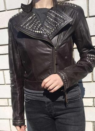Стильная натуральная кожаная куртка косуха mango asos zara h&m актуальная