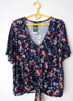 Синяя блуза с принтом пейсли (восточные огурцы) george