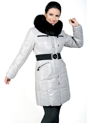Женская светло серая куртка пуховик пальто натуральный мех чернобурка