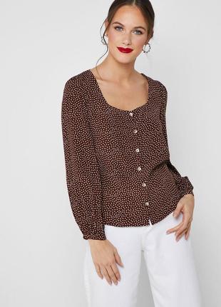 Блуза mango в горошек с квадратным вырезом