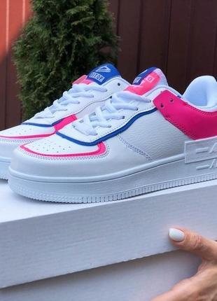 Кожаные женские кроссовки-сникерсы на весну и лето, белые с розовым и синим, р36-41