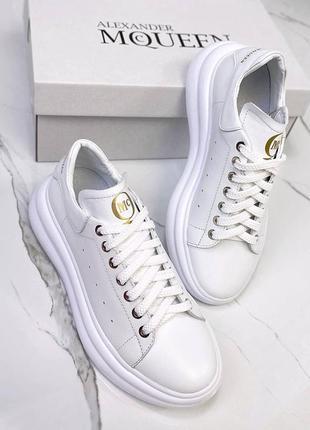 Натуральная кожа, базовые, модные белые женские кроссовки
