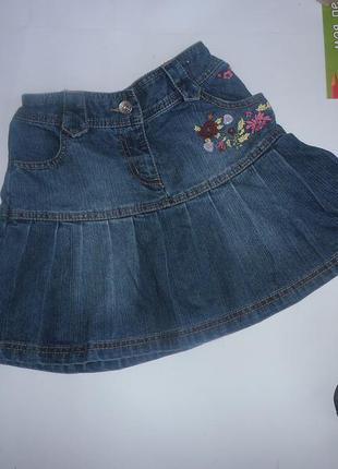 Милая джинсовая юбочка с вышивкой next.
