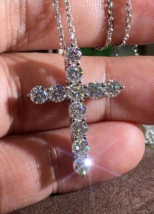 Подвеска крест в кристаллах серебро 925 покрытие, цепочка с крестиком