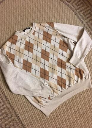 Pierre cardin свитер в ромбы  унисекс джемпер