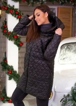 Куртка пальто женская с капюшоном демисезон удлиненная
