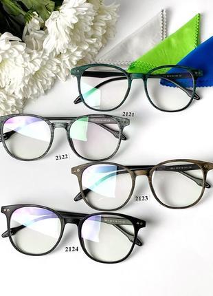 Имиджевые очки с компьютерными линзами в зелёной оправе