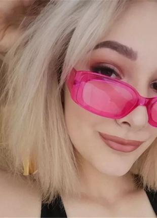 Тренд 2021 розовые очки солнцезащитные узкие 60-е ретро окуляри рожеві