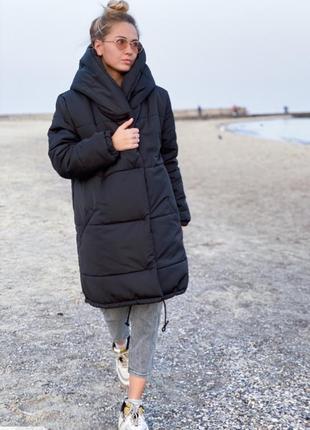 Теплая куртка «зефирка» двубортная с двойным капюшоном плащевка лаке силикон 300