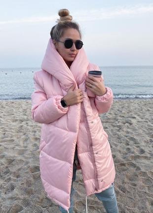 Теплая куртка зефирка двубортная с двойным капюшоном плащевка лаке силикон 300