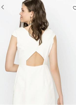 Молочное платья с открытой спиной, сукня befree (zara)