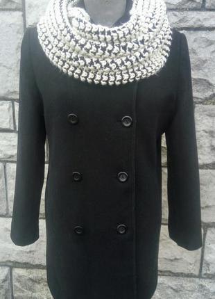 Трендове фірмове чорне шерстяне осіннє пальто  бойфренд (bhs)