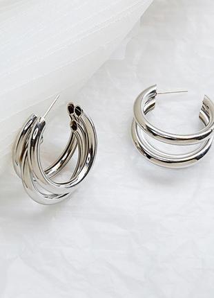 Серьги сережки кольца серебристые