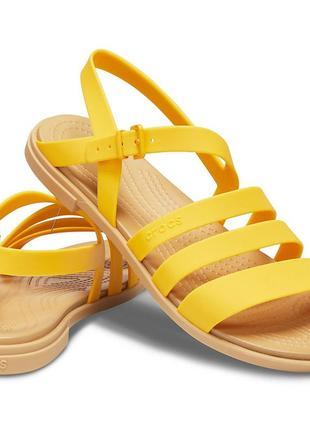Женские босоножки crocs tulum w7 w8 сандалии желтые крокс оригинал