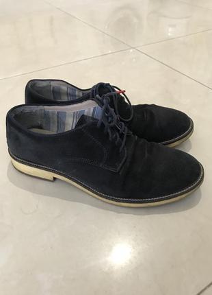 Натуральные замшевые туфли ботинки оксфорды zara стиль casual р. 42