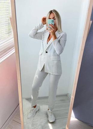 Стильный костюм в полоску, брючный костюм, пиджак и брюки
