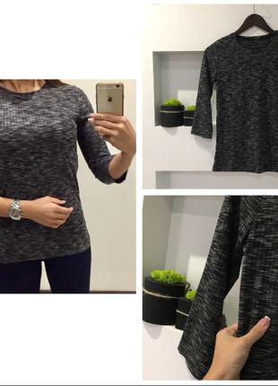 Трендовый серый свитер /серый гольф в рубчик