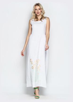 Последнее! милое льняное белое платье длинное ниже колен с вышивкой без рукава