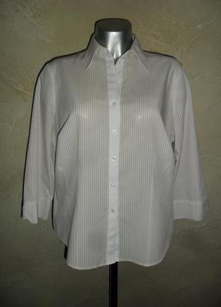 Офисная белая в бежевую полоску хлопковая рубашка  m&s 3xl 18 батал