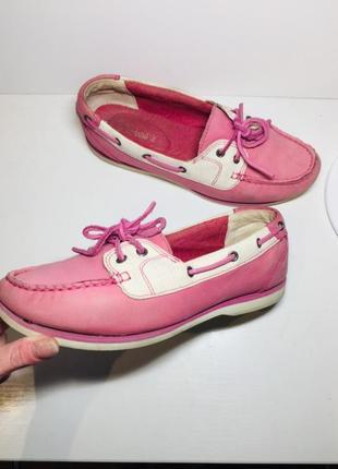 Кожаные балетки timberland лоферы мокасины туфли женские 38 37 размер розовые слипоны