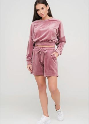 Женский велюровый костюм  (кофта + шорты ) для дома  44 46 размер