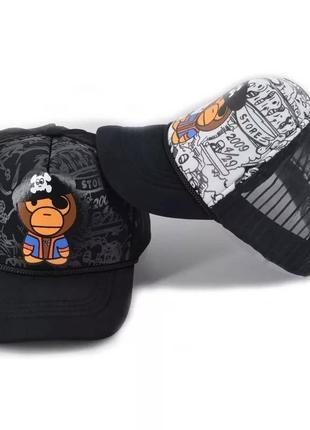 Детская кепка тракер обезьянка пират с сеточкой, унисекс