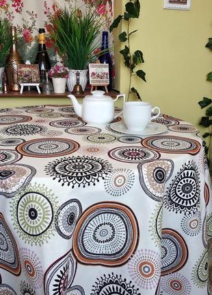 Скатерть с кругами с водоотталкивающей ткани 110*160 см