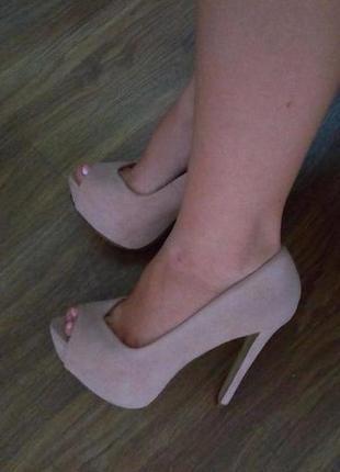 Нюдовые, бежевые туфли atmosphere с открытым носком, высокий каблук