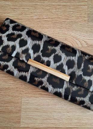 Клатч guess, сумка, лаковый леопардовый