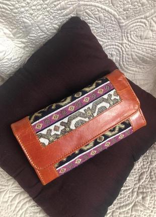 Индия! кожаный кошелёк, ручная работа, натуральная кожа, этнический стиль