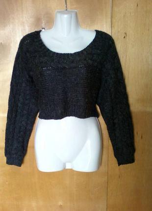 Кофта свитер свитерок свитшот вязаный теплый темно серый шерсть р 10-12 или 46-48