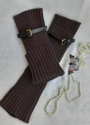 Гетры с кожаными ремешками шерстяные вязанные трикотажные чулки