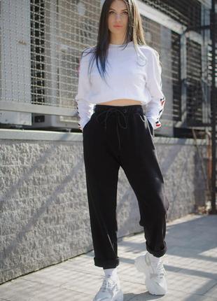 Черные коттоновые штаны чинос высокие without