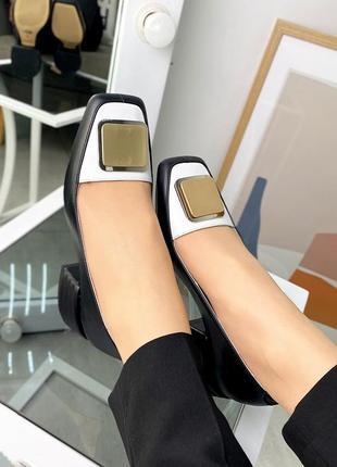 Туфли кожаные на удобном каблуке