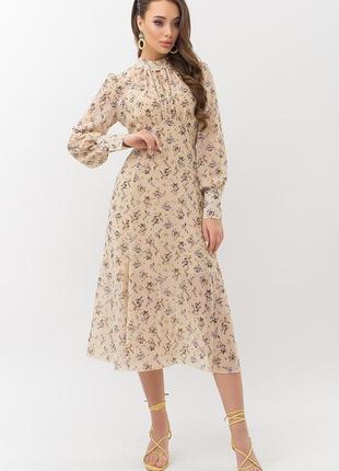 Шифоновое платье миди беж в цветочек