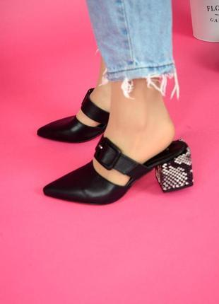 Кожаные мюли натуральная кожа летние туфли лодочки на каблуке