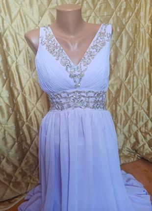 Платье выпускное вечернее свадебное для свидетелей шикарное стразы бусины пайетка